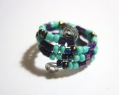 """Ring - Adjustable - Beaded - Turquoise and Purples - """"Let's Do It"""""""