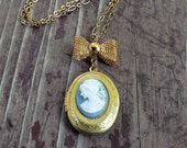Cameo Necklace Oval Locket Cameo Locket Silhouette Necklace Locket Necklace Vintage Keepsake Jewelry Bow Necklace Blue - Sweet Cameo