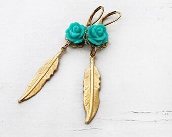 Boho Gold Feather Earrings Turquoise Bohemian Jewelry Rose Earrings Long Flower Earrings Nature Southwest- Sophia