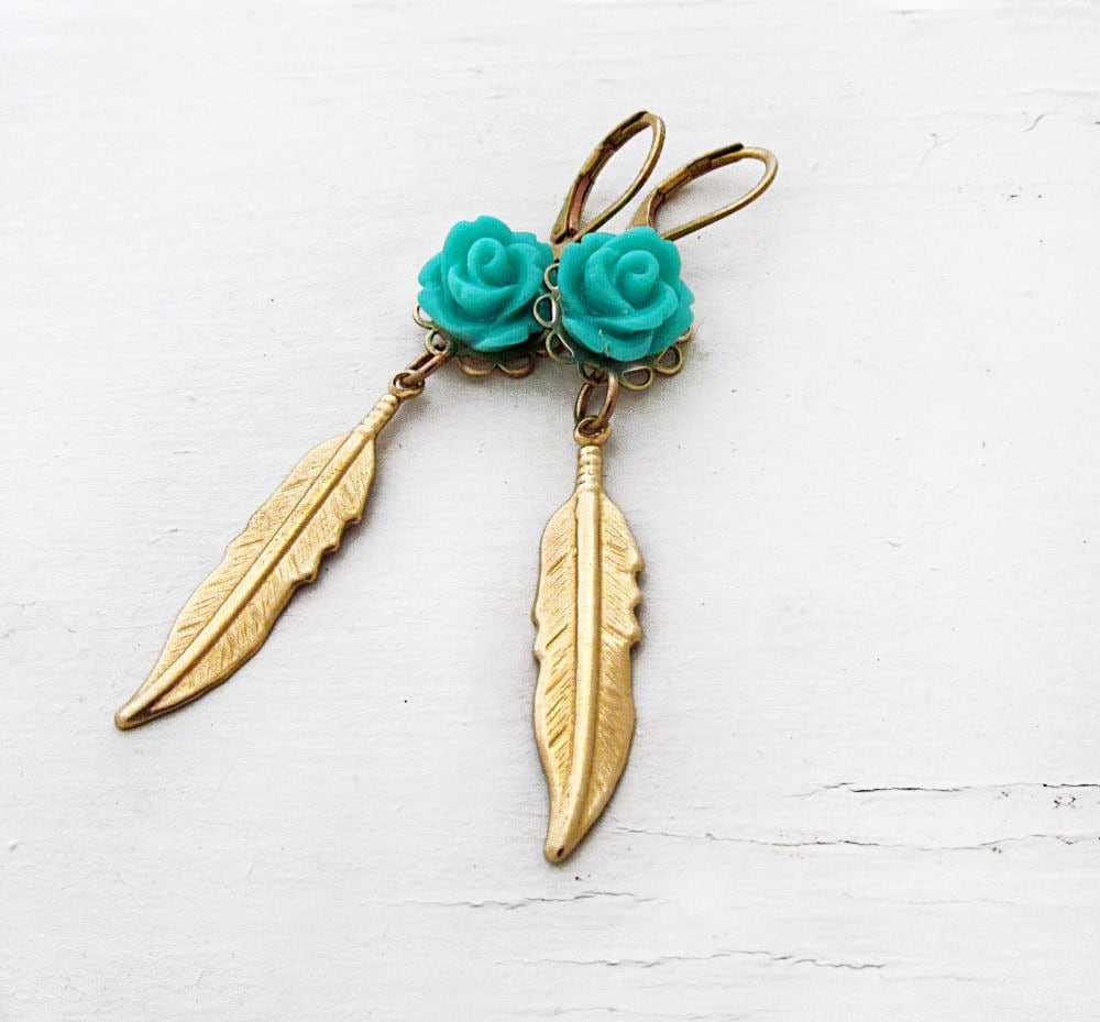 Feather Jewelry: Boho Gold Feather Earrings Turquoise Bohemian Jewelry Rose