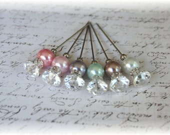 Rhinestone Stick Pins Light Pearls Scrapbooking or Cardmaking