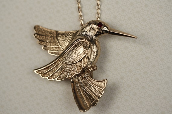 Hummingbird Pendant Necklace with Ruby Eye, Long Gold Chain, Upcycled Vintage, Whimsical Bird Fashion