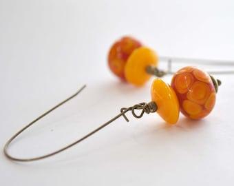 Orange Lampwork Glass Earrings, Polka Dot, Long Dangle
