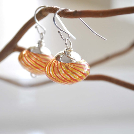 Red and Yellow Striped Glass Earrings