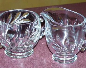 Indiana Glass Magnolia Oleander Willow Crystal Cream and Sugar Set Leaf Pattern