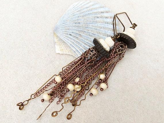 Jelly Fish - Long Tassel Aged Copper Earrings, Wood, Bone, Chain, Handmade Jewelry by CreativeGypsy on Etsy