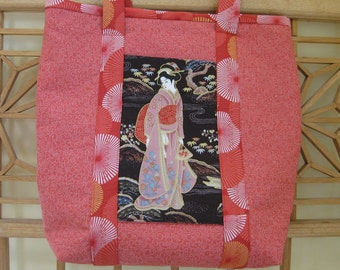 Medium Tote in Salmon Print with Geisha Pocket and Oriental-look Handles