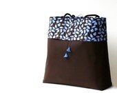 Large brown and periwinkle blue floral fabric shoulder bag with pockets...matching Lucite flowers...brown blue tote diaper bag...ON SALE