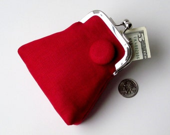 Red black credit card purse with matching button...travel jewelry purse...eco friendly linen...cash change ID medication holder...last one!