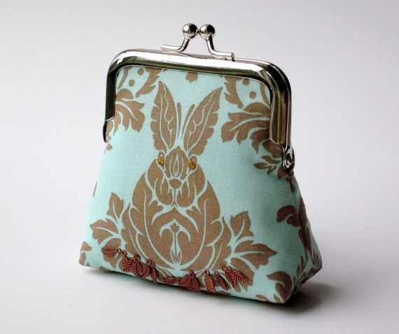 RESERVED for Richelle   .   mint green and chocolate bunny rabbit cotton coin purse with copper leaf and sead bead detail