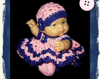 doll clothes, doll dress, crochet doll clothes, crochet doll dress, crochet for dolls, doll clothing, doll outfit, baby doll dress, doll set