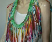 womens shredded braided fringed upcycled recycled tshirt necklace , jersey necklace. rainbow tiedye