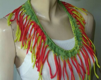 womens shredded braided fringed upcycled recycled tshirt necklace , jersey necklace. rasta tiedye