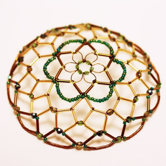 Gold/Green/Antique Bronze Kippah