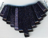 Blue Goldstone Cleopatra Mini Fan Beads Set 13 pc