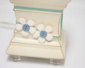 Matilda Jane m2m - MARJORINE - Glitter Flower Appliqué Headband in Cream on Aqua Blue, Character Counts