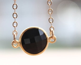 Gold Black Onyx Gemstone Necklace - Mini Bezel Necklace - Black and Gold