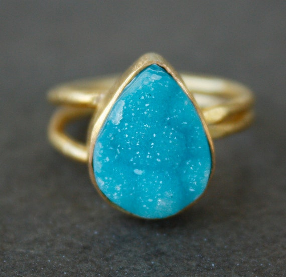Aqua Blue Agate Druzy Ring - Teardrop Cut - Teal Blue, Neon Shades, Adjustable Ring