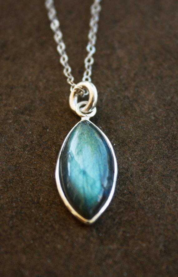 Teal Blue Labradorite Necklace - Marquise Shape Stone - Rhodium