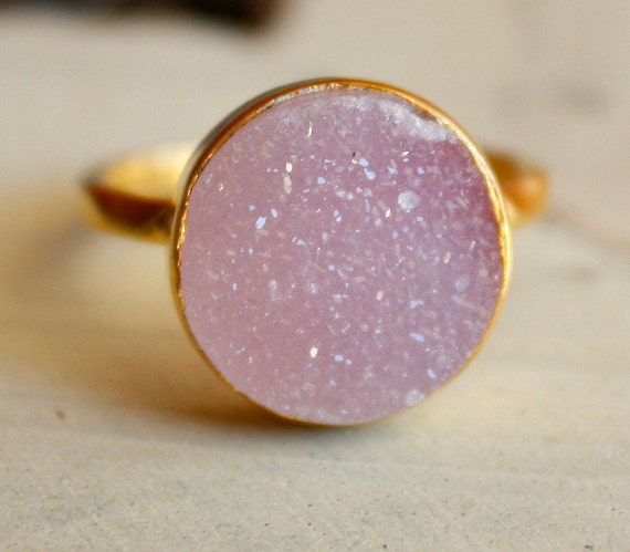 Pink Agate Druzy Ring - Bubble Gum Pink Geode Ring - AAA Quality
