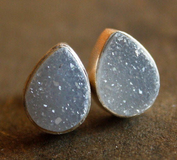 Soft White Gray Druzy Stud Earrings - Natural Geode Studs - Silver Filled, AAA quality