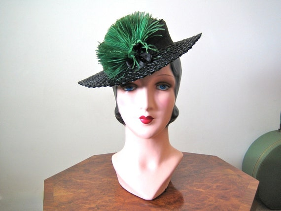 1940s Hat / Black toy tilt hat with emerald ostrich cockade and back strap
