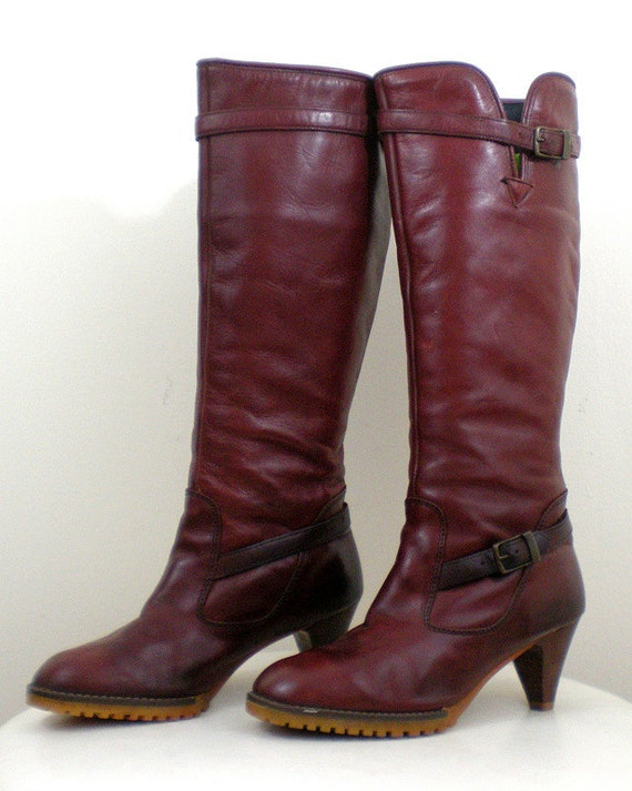 Leather Knee-High Boots - Oxblood High Heel Size 8 - Vintage 1970s 70s