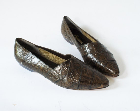 Vintage Pointed Green Leather Flats Size 8 Slip On Flats