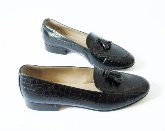 Vintage Tassel Loafers Size 7 Black Leather Talbots