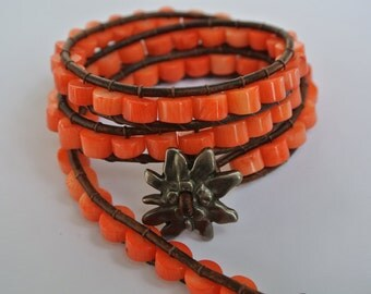 Fleur Coral Heishi Beaded Leather Wrap Bracelet