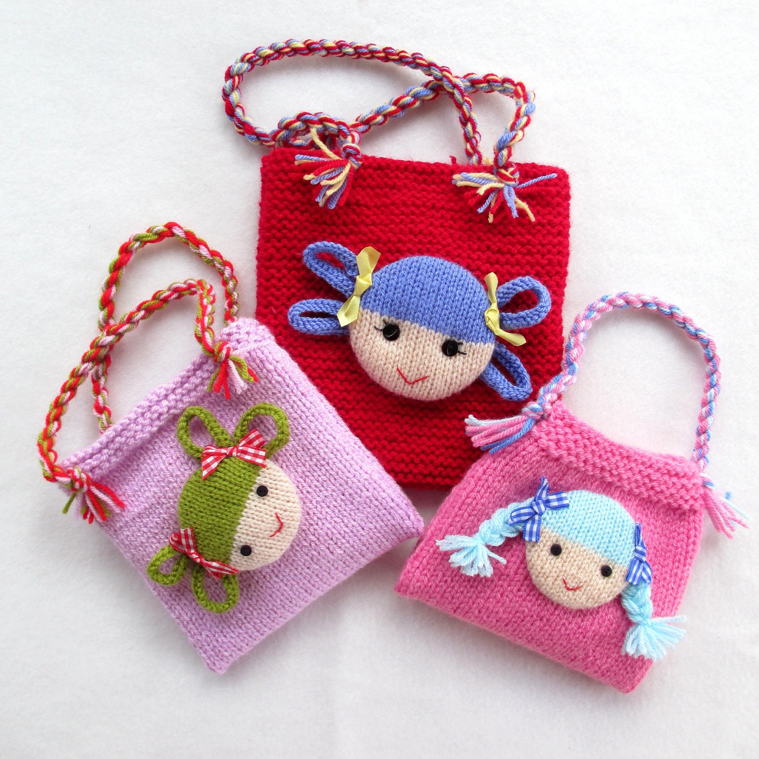 Knitted Bags Patterns : Jolly Dolly Bags knitting patterns INSTANT DOWNLOAD