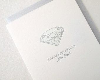 Letterpress Diamond Engagement Card - Nice Rock