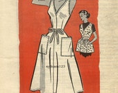Vintage 1952 Back Wrap Apron or Jumper Dress Large Patch Pockets...Mail Order 4803 Bust 32 UNCUT