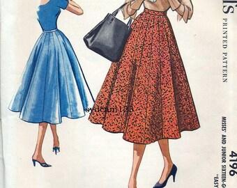 Vintage 1958 Sixteen Gored Full Skirt Easy to Sew...McCalls 4196 Waist 25
