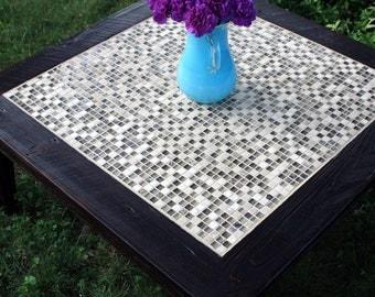 "Square Coffee Table, Glass & Stone Tile Mosaic Coffee Table.  Reclaimed Wood Coffee Table.  ""Glass in the Ruins"" Table.  - Handmade"