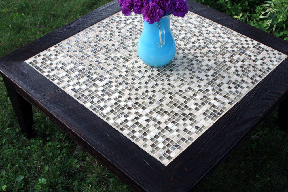 Square coffee table glass stone tile mosaic coffee table for Mosaic coffee table designs