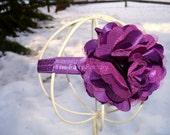 Dark Purple Flower Headband - Plum Satin and Tulle Flower Puff Stretchy Headband or Hair Clip - Infant Toddler Girl