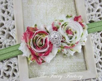 Rose Pink, Green & Off White Vintage Floral Headband, Chiffon Rosettes w/ Crystal Center Green Headband, Baby Toddler Child Girls Headband