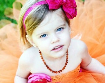 Hot Pink Hair Bow - Satin Rosette Hair Bow w/ Crystal Center Headband or Hair Clip - The Virginia - Baby Toddler Child Girls Headband