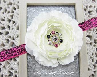 White Flower Headband - Silk Flower w/ Rhinestone Center Hot Pink & Black Damask Headband or Hair Clip - Baby Toddler Child Girls Headband