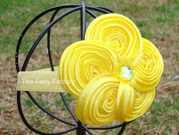 Yellow Flower Headband - Posh Sunny Yellow Beaded Satin Swirl Flower Stretchy Headband or Hair Clip - Baby Toddler Girl