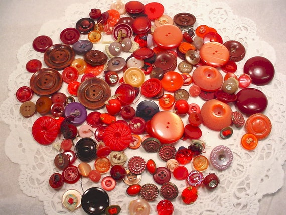 Vintage Red BUTTONs Instant Collection of 153 pieces. 1950s