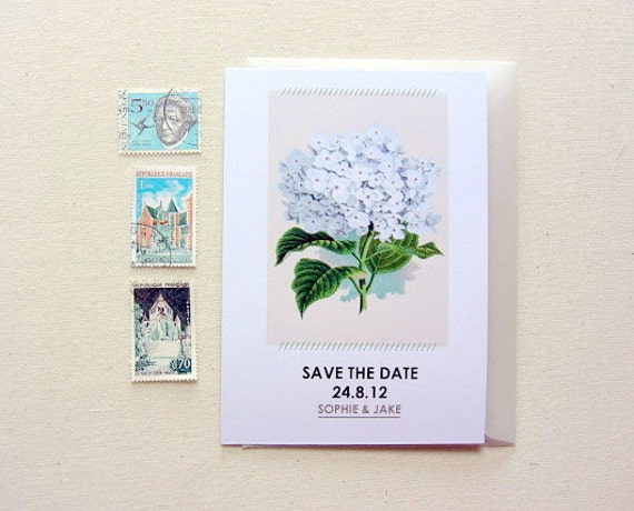 Save the date cards, set of 20, hydrangea, modern, vintage, wedding invitations, white, green