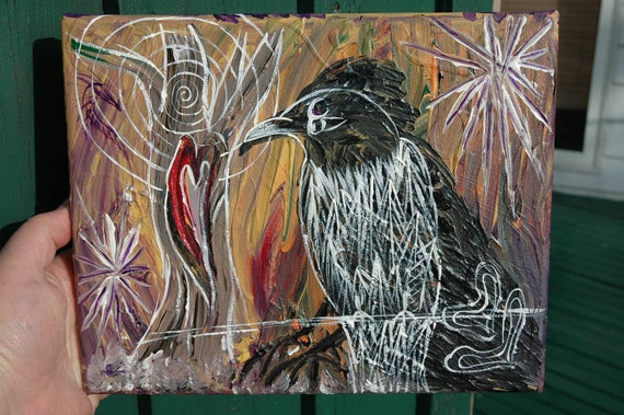 """On Hold, Crow Painting, The Voice From Within"""", Original 8"""" x 10"""" Canvas, Acrylic"""