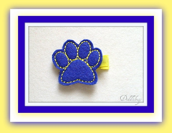 Girls Hair Accessory -  Blue and Yellow Tiger Paw Hair Clip
