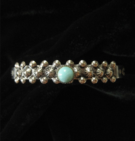 Southwestern Style Cuff Bracelet with Turquoise Glass Stone