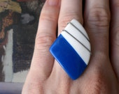 Delia Funky Blue and White Vintage Button Ring - triangle