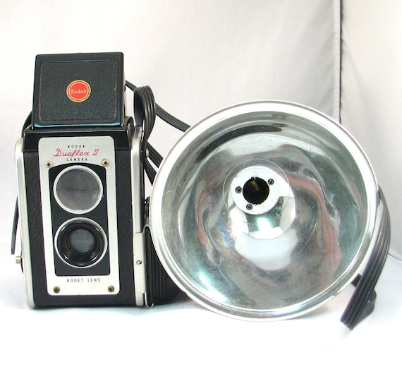 Vintage Kodak Duaflex II Camera with Flash Attachment and Instruction Booklet