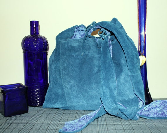 Hand Crafted Custom By MaggiesBag Blue  Leather Hobo- Crossbody Bag-New Sale.