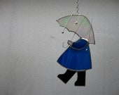 Umbrella girl stained glass suncatcher - NitasStainedGlass